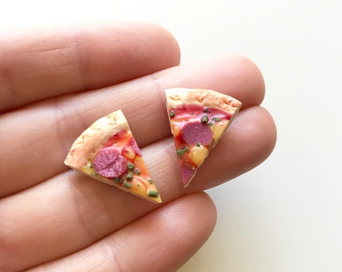 Pepperoni Pizza Stainless Steel Stud Earrings.  You favourite miniature food that you can wear!
