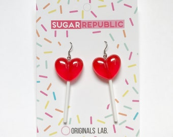Red Heart Lolly Pop Earrings with Stainless Steel Hooks