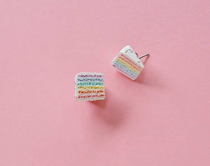 Rainbow Cake Earrings - A Sweet and Colourful International Classic Cake
