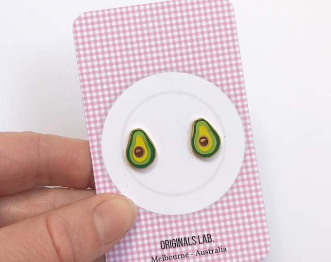 Iconic Australian Food Enamel Earrings - Avocados - Plated with 18K Gold