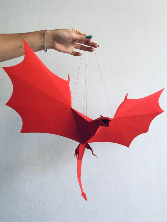 Dragon Wyvern Make Your Own 3d Paper Mobile Wall Art Etsy