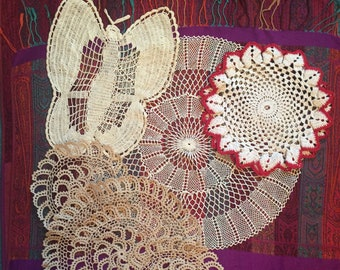 Handmade Crocheted Doilies Set of Six