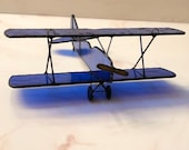 Stained Glass Airplane Biplane Vintage Cobalt Blue