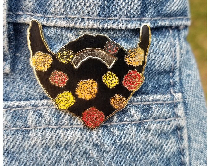 Floral Beard Enamel Pin - Warm Tone