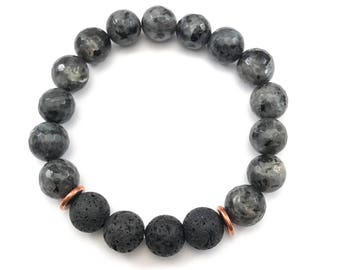 Gemstone Essential Oil Diffuser Bracelet, Labradorite Beaded Jewelry, Lava Beads for Essential Oils, Aromatherapy Jewelry