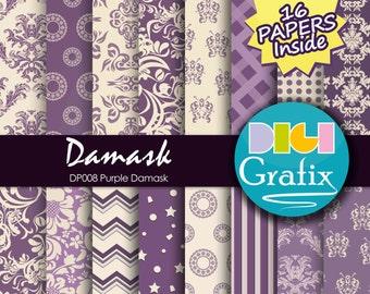 SALE Purple damask Digital Paper - Purple damask, Digital Paper, Printable Paper, Purple damask Textures Birthday Party