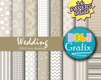 SALE Ivory Wedding Damask Digital Paper - Ivory Wedding, Digital Paper, Printable Paper, Ivory Wedding Textures Birthday Party