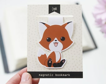 Fox - Magnetic bookmark (BIG) || foxes, happy planner, literary gift, paper clips, book lover, planner bookmark, forest animal, planner clip