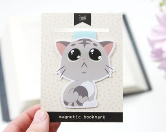 Kitten - Magnetic bookmark (BIG) || cat, happy planner, literary gift, paper clips, book lover, planner bookmark, cute cat, planner clips