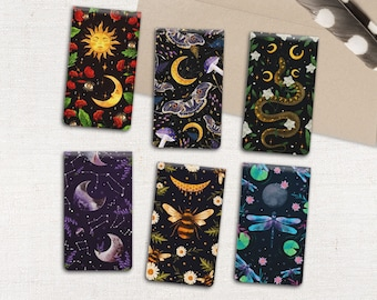 Luna Moth Bee Snake Stars and Moon Magnetic Bookmarks || mystical celestial literary gifts for book lovers, teachers, witches - Set of 6