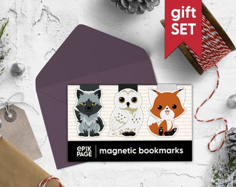 Wild animals - Gift Set - Magnetic bookmark || book lover gift, literary gift, bookish gifts, literature gift, book gift box, bookworm gifts