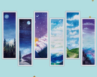 Watercolor Mountain Landscape paper Bookmarks || literary gifts for book lover, teacher, grandma, bookworm - Night Sky Bookmark - Set of 6