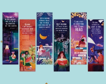 Inspiring Quotes about Books and Reading Bookmarks || motivating literary gifts for book lover, teacher, bookworm - Set of 6 paper bookmark