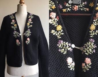 Vintage Embroidered Wool Cardigan