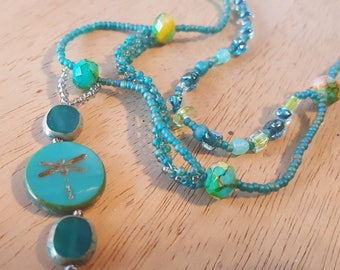 """Prairie Dragonfly 20"""" Necklace with Pendant.  Made in Montana."""
