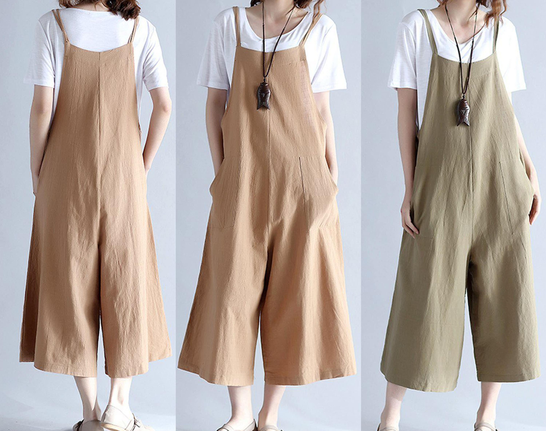 f60c8e3c1d Maternity jumpsuit beige linen romper linen whap jumpsuit