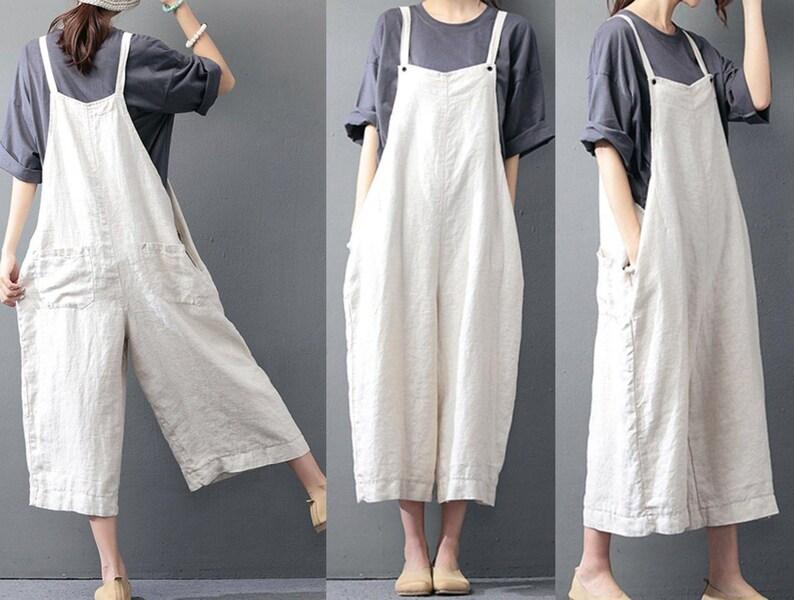 51375e37e1 Maternity jumpsuit white linen romper linen whap jumpsuit