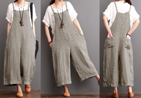29e17b0a96 Grey linen romper linen whap jumpsuit linen summer clothes