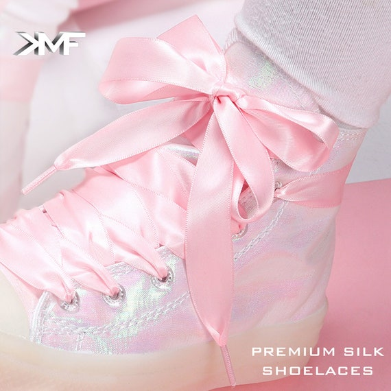 PREMIUM SATIN SILK RIBBON WIDE SHOELACE COLORFUL VIBRANT LACES FREE SHIPPING