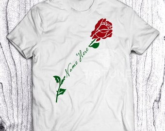 Rose Stem Tshirt - White Shirt