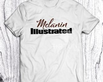 Melanin Illustrated Tshirt - Fortune Tee - Black Girl Magic - Melanin