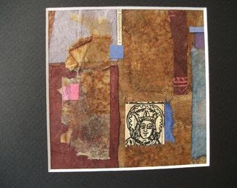 Original Abstract Collage Art Mixed Media Polish Woodcut Saint Washi Recycled Paper