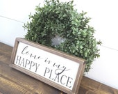 Home is My Happy Place Sign Small Wood Sign Housewarming Gift First Home Farmhouse Wall Decor