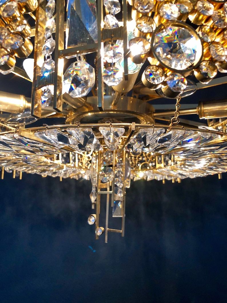 XXL Palwa Gilded Brass Crystal Hollywood Regency Chandelier 1YWZ7ysF