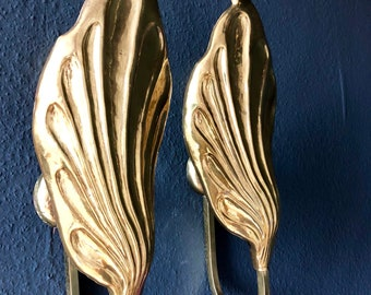 Pair of Leafs Sconces by Tomasso Barbi Italy 1970s Mid Century Modern