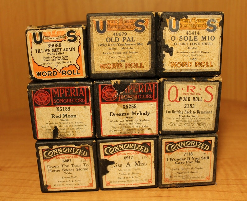 Antique Player Piano Rolls Song Word Rolls  Music Rolls  US image 0