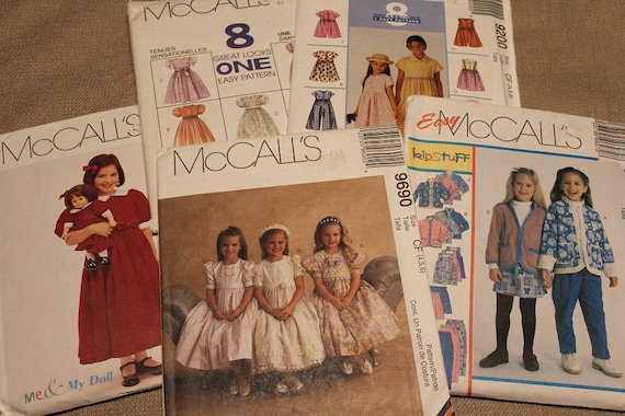Sewing Patterns Uncut~ McCall's & Simplicity ~ Factory Folds ~ Instruction  Books ~ Childrens Multi Sizes ~ Adorable Easy to Sew Fashions