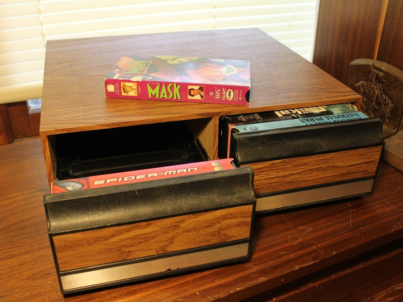 VHS Storage Cabinet ~ Organizer ~ Faux Wood ~ Black Overlay ~ Two Drawer  ~Slotted~ Video and/or Audio Cabinet ~ Vintage from 1980's