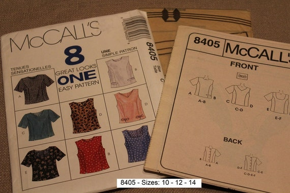 McCall/'s 8405  Misses/' Tops   Sewing Pattern