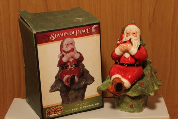 Cracker Barrel Christmas.Christmas Salt Pepper Set Tree And Santa Claus Cracker Barrel Country Store Original Box Ceramic Holiday Table Decor Collectible