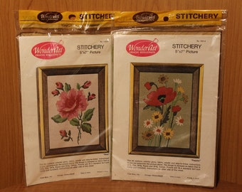 Embroidery Flower Picture Kits 5x7 ~ Wonder Art Creative Needlecrafts ~ Unopened Kits ~ Poppies ~ Rose ~ Stitchery ~ Made in USA