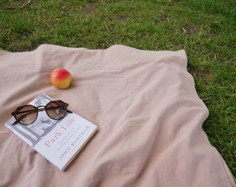 Cotton picnic blanket, reversible picnic blanket, picnic sheet, plain picnic blanket