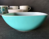 VINTAGE Turquoise Pyrex 410 Dip Snack Bowl - Small Blue Square Bowl, 12 Ounces, 1959