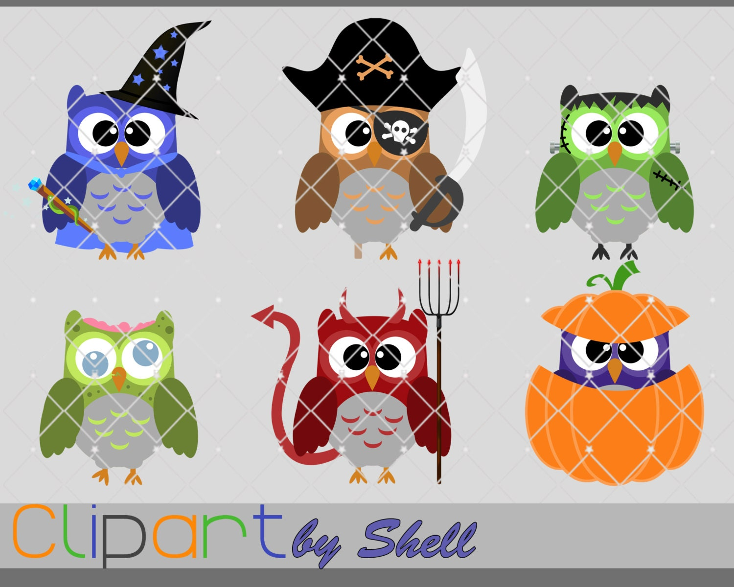 halloween owls clipart owls in costume clip art digital | etsy