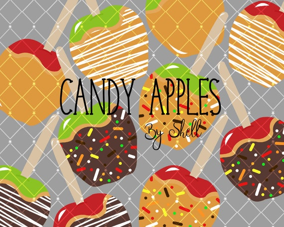 Caramel Apple Clipart Apple Clip Art Digital Clipart Fall Etsy
