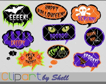 Halloween Text Bubble Clipart, Text Bubble Clip Art, Halloween Clipart, Digital Talk Bubbles, Halloween Graphics, Halloween Printable