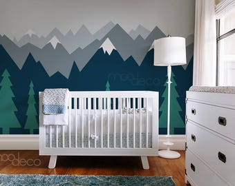 Teal Gradient Ombre Mountain with Natural Pine trees Scenery Nature seamless wallpaper peel and stick wall decal sticker