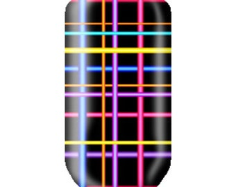 Nail Decals Neon Plaid Pattern - Full Color Nail Strips