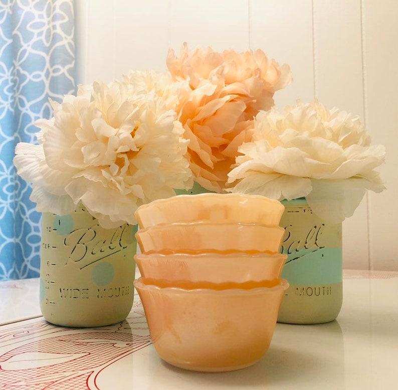Fire King Peach Lustre Custard Cups