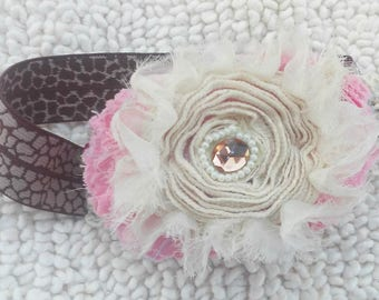 Pink and Ivory Little Girls Headband |Baby Hair Bands | Girls Hair Accessory  | Newborn Headband | Headbands for Infants