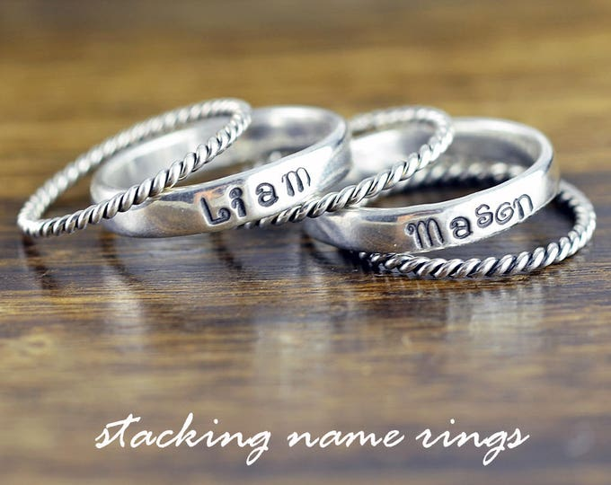 Rings with Names Sterling Silver, Stacking Rings, Hand Stamped Ring, Personalized Ring, Mothers Ring, Mothers Jewelry, Silver Rings