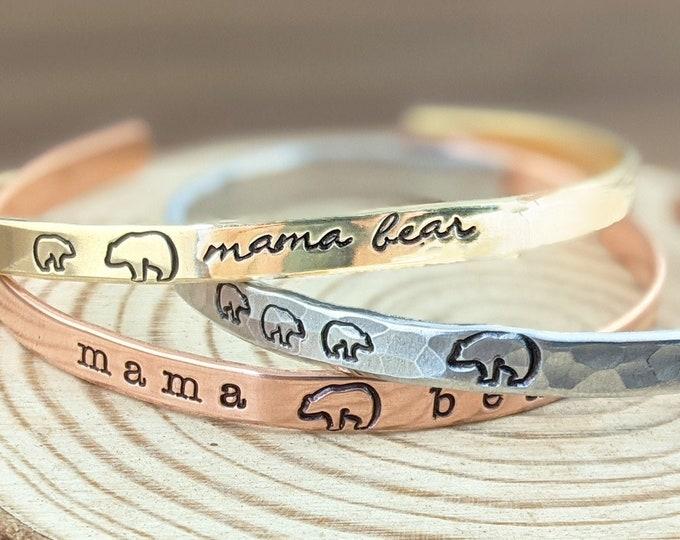 Mama Bear Cuff Bracelet, Mama Bear Bracelet, Gift for Mom, Mama Bear Baby Bear Bracelet, Mama Bear with Cubs Bracelet, Mama Bear Jewelry