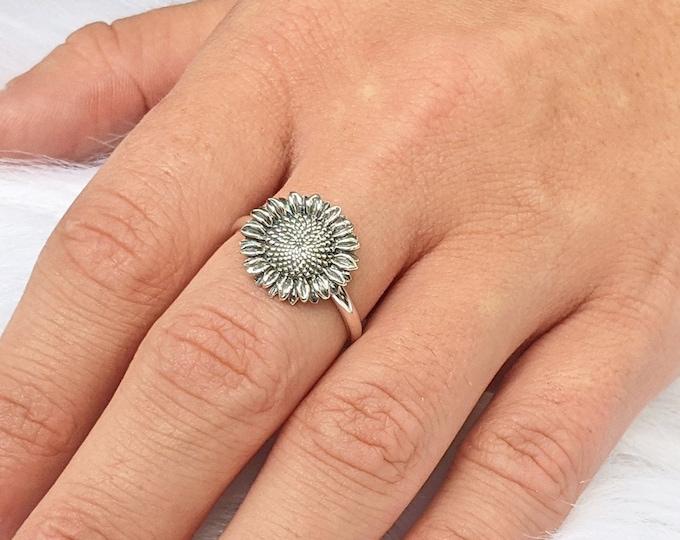 Sunflower ring, Sunflower Jewelry, Sunflower Ring Silver, Sterling Silver Sunflower Ring, Women's Sunflower Ring