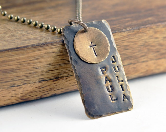 Hand Stamped Mens Necklace - Personalized Dog Tag Necklace - Cross Necklace - Hand Stamped Mens Necklace - Custom Mens Jewelry - Mens Gifts