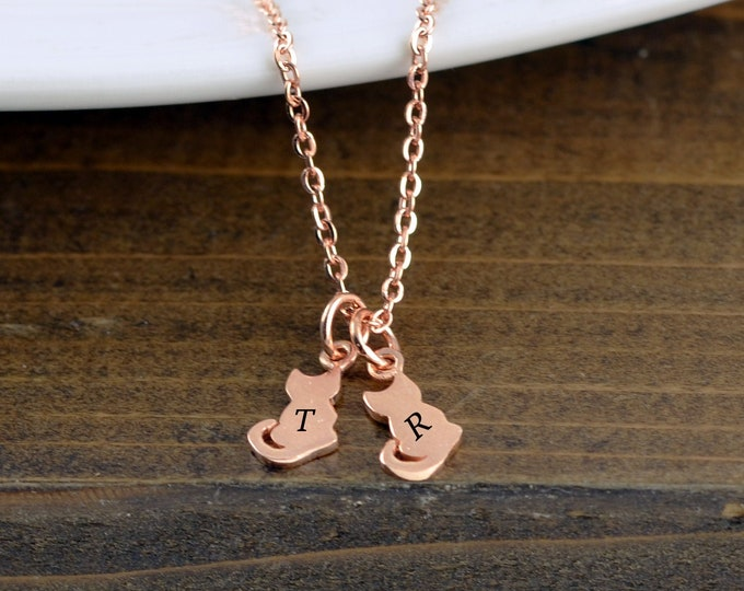 Rose Gold Necklace, Personalized Cat Necklace, Cat Mom, Cat Lover Gift, Cat Lover Gift Jewelry, Animal Lover Gift, Cat Necklace for Women