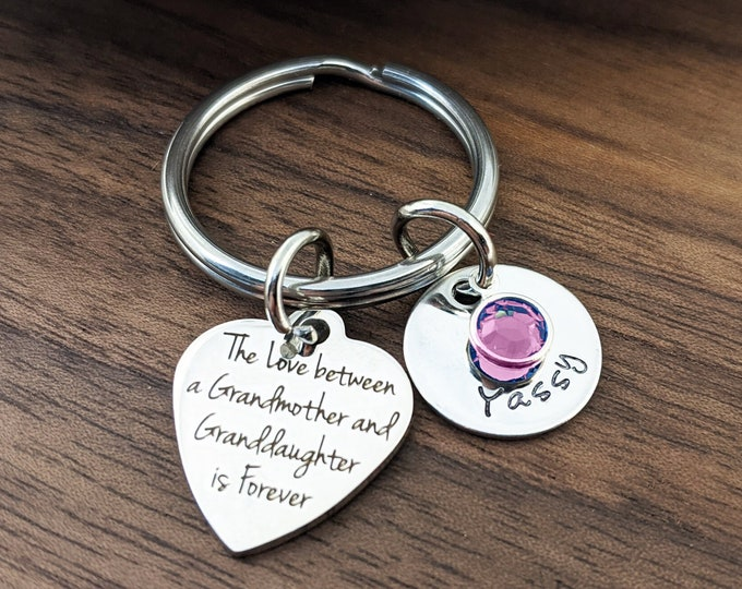 The Love Between A Grandmother and Granddaughter Is Forever Keychain, Gift for Grandmother, Gift for Grandma, Grandmother Gift, Grandma Gift